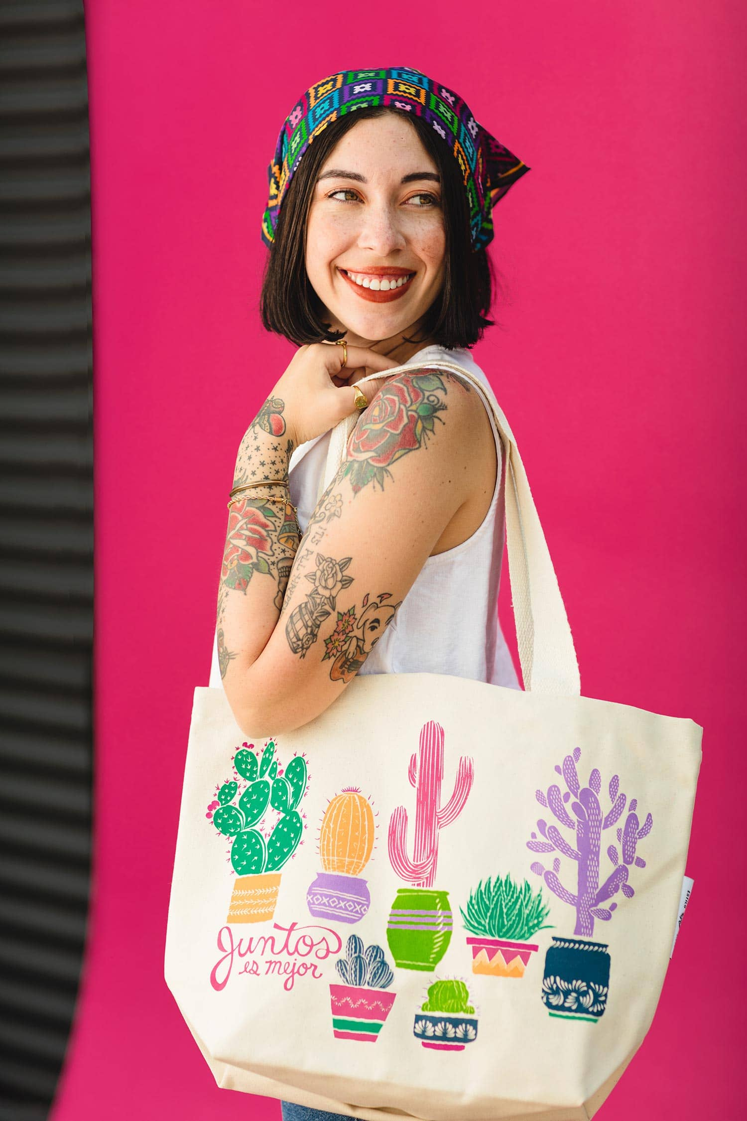 Organic Canvas Tote with Cactus Print