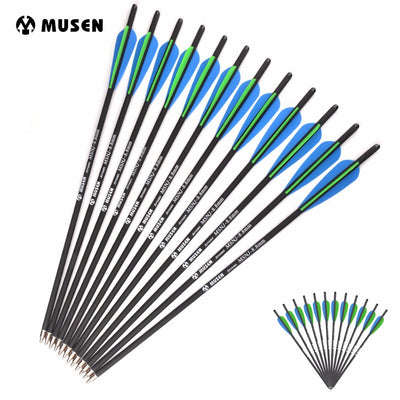 12/24PCS 20 Inches Diameter 8.8mm Changeable 125 Grain Arrowheads with Green Blue Plastic Feather Archery Hunting Shooting