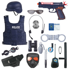 Kit Cop Toy Set 18Pcs/Set Children Pretend Play Police Officer Toy Props Police Role Play For Fancy Dress Children Role Playing