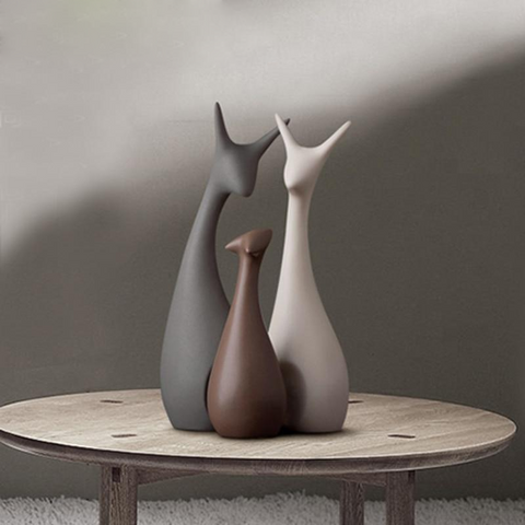 Deer Family Figurines Modern Fashion Ceramic 3 Pcs