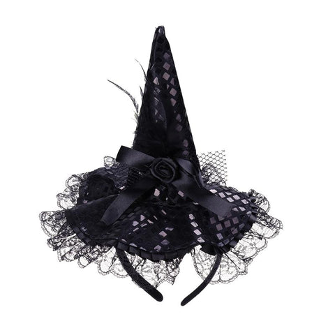 Cheap 1pcs Children Halloween Headband Feather Party Witch Hat For Costume Dress Up Party