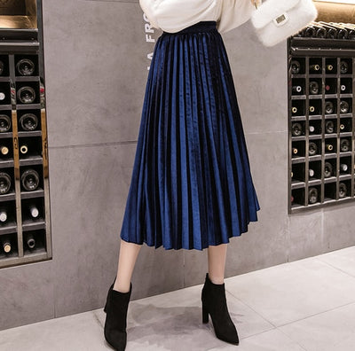Velvet Skirt High Waisted Skinny Large Swing Long Pleated Skirts Metallic 18 Colors Plus Size