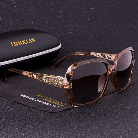 Luxury Brand Design HD Polarized Sunglasses Women Ladies Oversized Square Gradient Sun Glasses