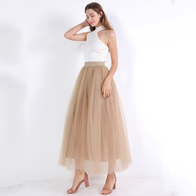 Lace Princess Fairy Style 4 layers Voile Tulle Skirt Bouffant Puffy Long Skirts