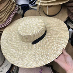 Women Natural Wheat Straw Hat Ribbon Tie 15cm Brim Boater Hat
