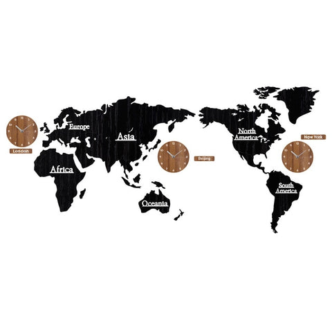 New Creative world map and  Wooden Large  Wall Clock
