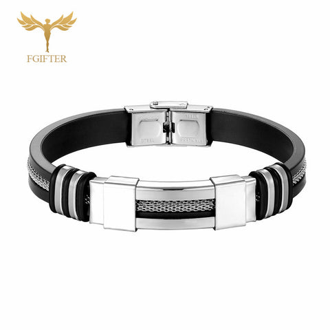 Cross Bracelets For Women Men Jewelry Stainless Steel Silicone Bracelet Religious Christian Jewelry