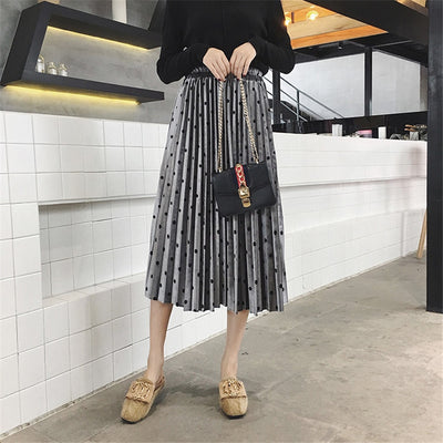 Fashion Velvet A-Line Pleated Dot Gorgeous Female Casual Elastic Waist Midi Skirts
