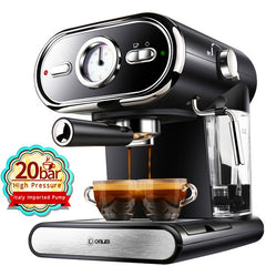 20BAR Coffee Maker Machine  Semiautomatic Household Visualization Milk Foam Double Temperature Control
