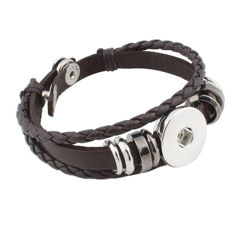 Snap Leather Bracelet Retro Handmade Braided Leather bracelets
