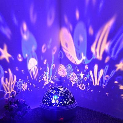 8 Colors Rotating Star Projector Night Light Luminaria Ocean Lamp