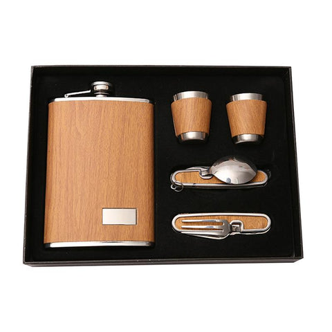 9oz Luxury Stainless Steel Alcohol Hip Flasks Set Whiskey Bottle Leather Flagon Wine Gift Flask Set Mini Flask For Man