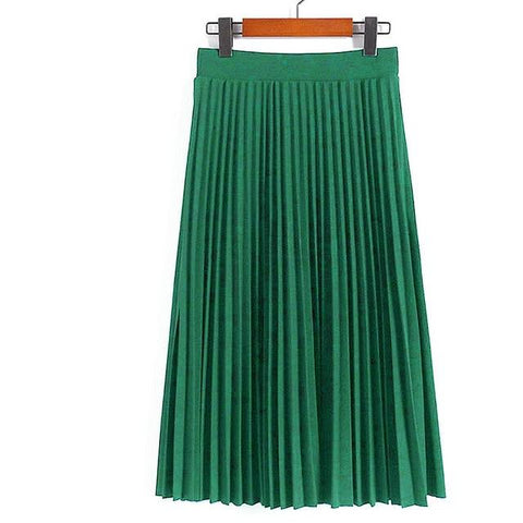 Fashion Women's High Waist Pleated Solid Color Length Elastic Skirt Party Casual Skirts