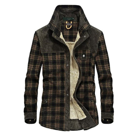 Autumn and winter men's jacket casual shirt plus velvet jacket business casual large size coat
