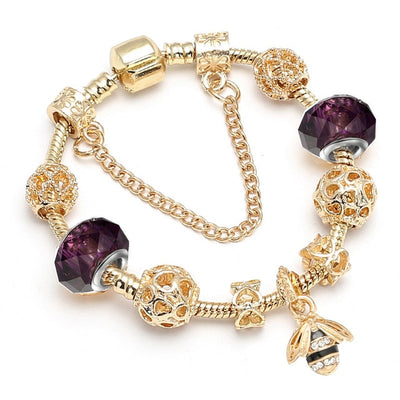 Luxury  Gold Crystal Murano Glass Beads  Charm Bracelet