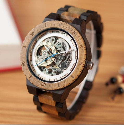 Wooden Watches Men Automatic Mechanical Wristwatch Waterproof