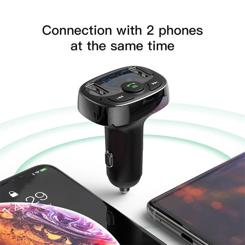 Baseus Dual USB Car Charger with FM Transmitter Bluetooth Handsfree FM Modulator Phone Charger in car