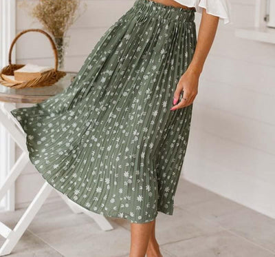 Floral print high waist long pleated skirt chiffon bohemian skirt