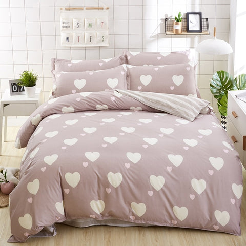 Bedding Set luxury bed cover sheet Pillowcase Wavy stripes Home textile  Family Bed Linens  High Quality