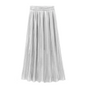 Pleated Skirt Womens Vintage High Waist Skirt Solid Long Skirts New Fashion Metallic Skirt Female