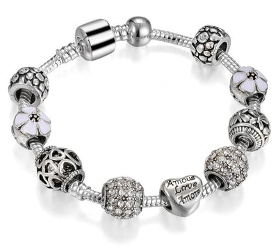 mickey mouse Murano Glass Beads Charm Bracelets