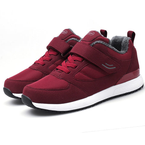 Women Winter Shoes Sneakers Red Warm Short Plush Casual