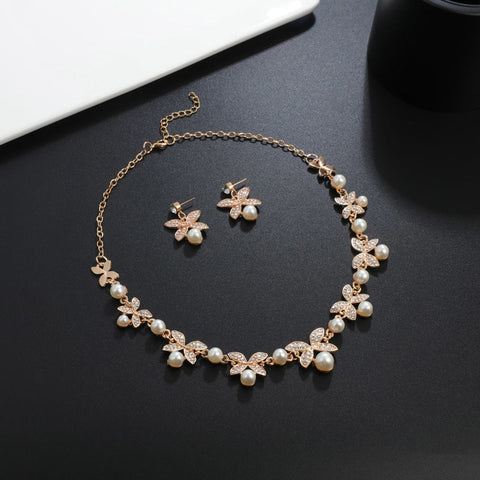 Pearl Jewelry Sets Wedding Bridal  Jewelry Flower Leaf Gold Silver Plated  Necklaces Earrings Sets