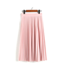 Image of Fashion Women's High Waist Pleated Solid Color Length Elastic Skirt Party Casual Skirts