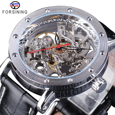 Silver Skeleton Wristwatches Black Red Pointer Black Genuine Leather watch for men