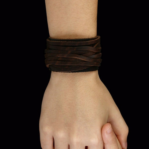 Black & Brown Genuine Leather Bracelet With Alloy Buckle Adjustable