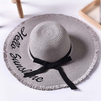 Handmade Weave letter Sun Hats For Women Black Ribbon Lace Up Large Brim Straw Hat