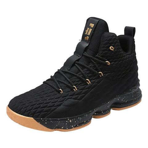 Cheap high top gold and black lebron james basketball shoes