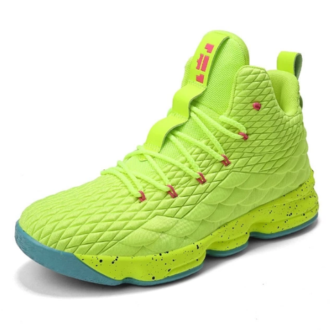 Cheap high top lime green lebron james basketball shoes