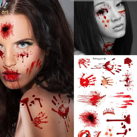 Horror Realistic Blood Scar Stickers Halloween Decorations