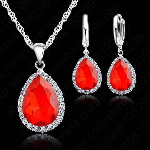 925 Sterling Silver Water Drop Cubic Zircon Crystal pendant  Necklace and earrings Jewelry Set