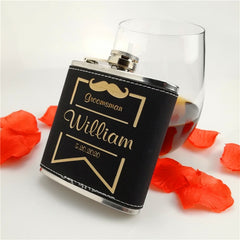 black leather hip flask hip flask ,Free Personalized Engraved 6 oz