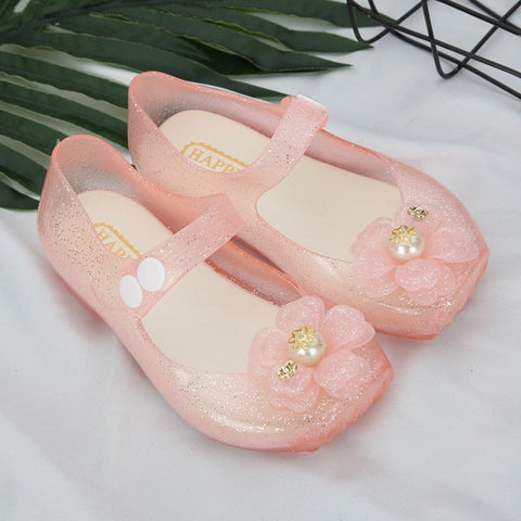 Kids Girls Sandals Anti-slip Jelly Shoes with Pearl Flower Princess Party Dress