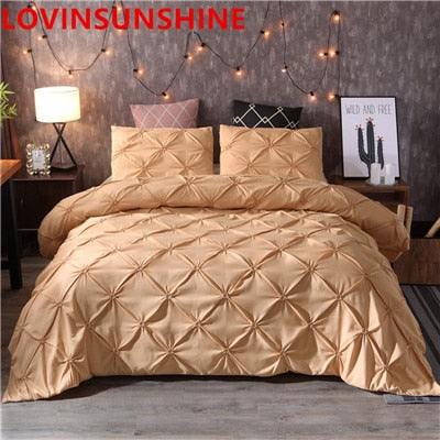 Luxury Black Duvet Cover Pinch Pleat Brief Bedding Set Queen King Size 3pcs Bed Linen set Comforter Cover Set With Pillowcase