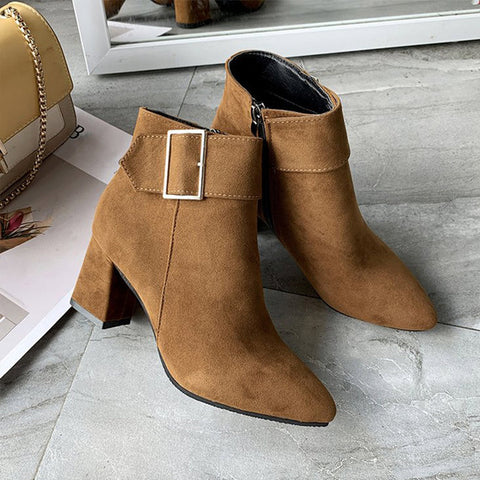 New Brand Women's Ankle Boots Zipper Mid Square Heels Platform For Ladies