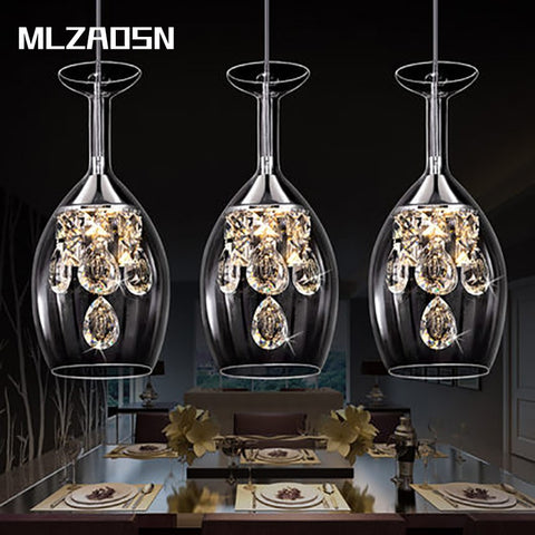 MLZAOSN LED Lighting Crystal Hanging Wine Glass Lamps
