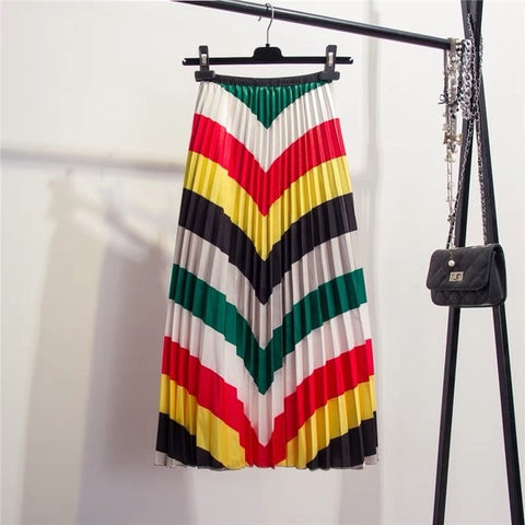Color Matching Striped Pleated skirt High Street Style Mid-Calf Empire Soft Fashion Women Skirts