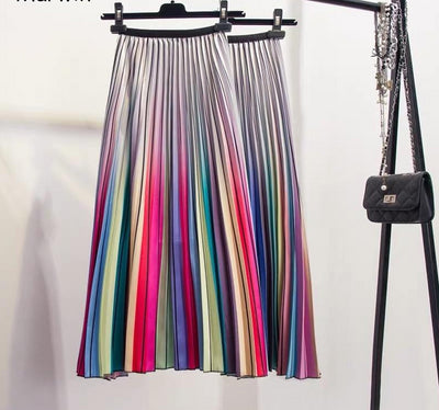 2019 Women Skirts Rainbow Striped A-line Mid-Calf Skirts High Street European Style High-Quality Skirts