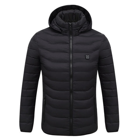 Electric Heated Jacket USB Infrared Heating Winter Jacket Hooded Heated Parkas Warm Jacket Mens