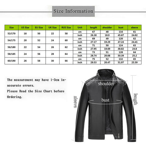 New Autumn Winter Men Leather Jacket Stand Collar Plus Velvet Thick Warm Leather Jacket Men Social Mens Jackets