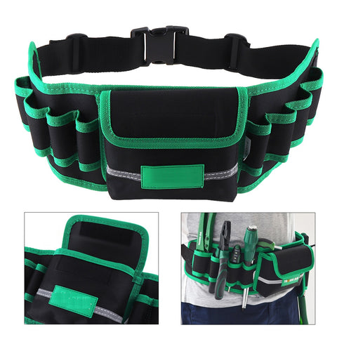 Multifunction Durable Waterproof Canvas Tool Bag Waist Belt Bag Electrician Repair Tool Pouch Organizer with 8 Holes 1 Pocket