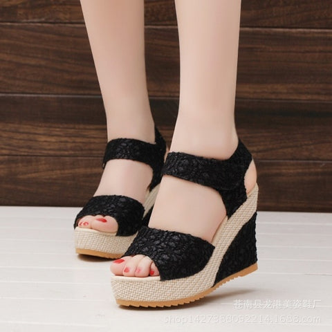 New Fashion Women Sandals Summer New Open Toe Fish Head Fashion Platform High Heels Wedge Sandals Women Shoes