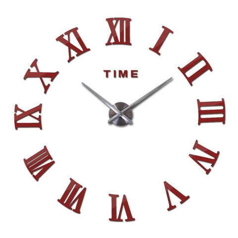 New large roman wall clock acrylic mirror diy clocks home decoration living room