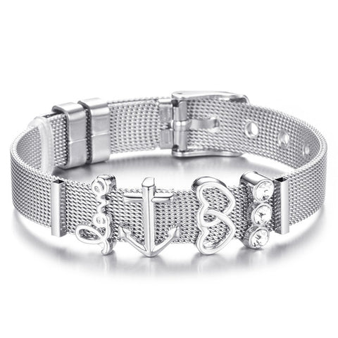 Stainless Steel Woman Bracelet Set Heart Anchor Charm Brand Bracelet