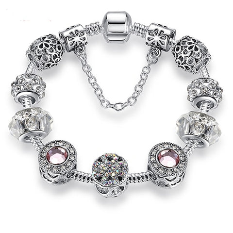 Silver 925 Crystal Four Leaf Clover Bracelet with Clear Murano Glass Beads