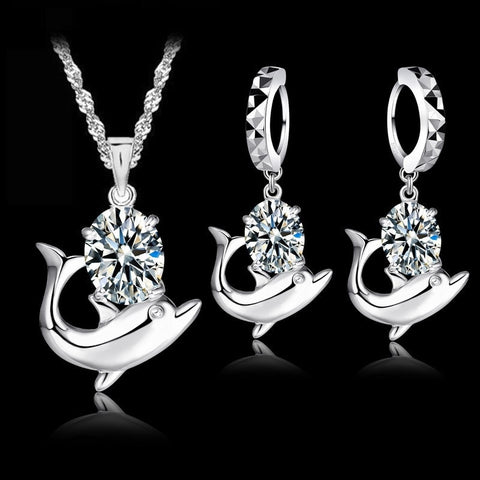 Austrian Crystal 925 Sterling Silver Sweet Dolphin Pendant Necklace Loop Earrings Sets